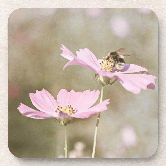 Bee on Pink Flower Beverage Coaster