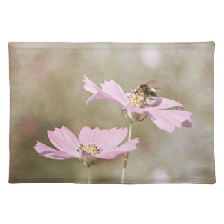 Bee on Pink Flower Cloth Placemat