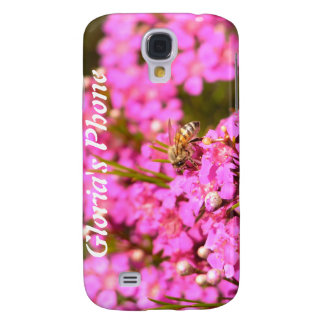 Bee on pink flowers galaxy s4 cover