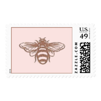 Bee on Pink Postage Stamp