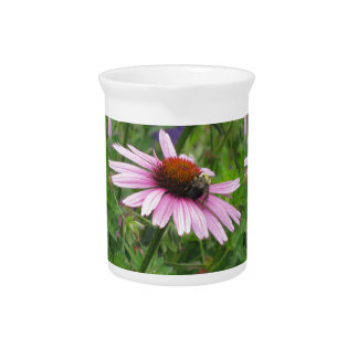 Bee on Pink Wildflower Drink Pitchers