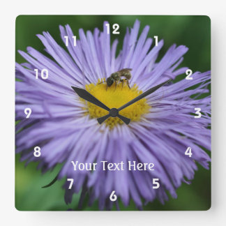 Bee On Purple Daisy Flower #2 Square Wall Clock
