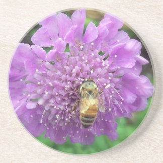 Bee on Purple Flower Coaster