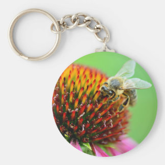 Bee on purple flower key ring