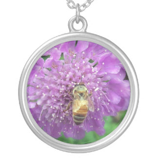 Bee on Purple Flower Round Pendant Necklace