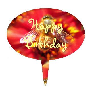 Bee on Red Flower Happy Birthday Cake Pick