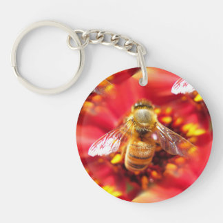 Bee on Red Flower Keychain