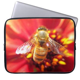 Bee on Red Flower Laptop Sleeve