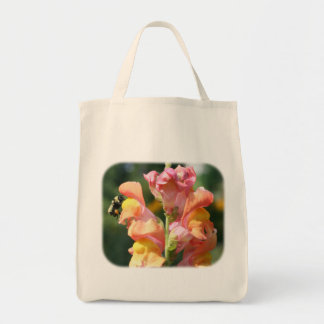 Bee On Snapdragon Floral Nature Tote Bag
