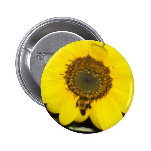 Bee on Sunflower 2 Inch Round Button