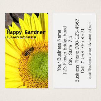 Bee On Sunflower Close Up Photograph Business Card