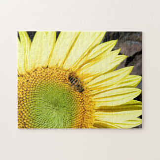 Bee On Sunflower Close Up Photograph Jigsaw Puzzle