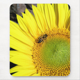 Bee On Sunflower Close Up Photograph Mouse Pad