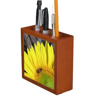 Bee On Sunflower Close Up Photograph Pencil/Pen Holder