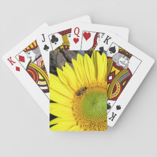Bee On Sunflower Close Up Photograph Playing Cards