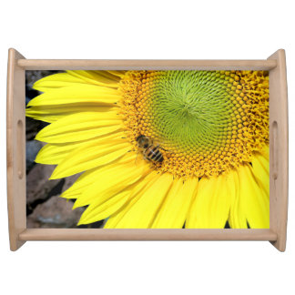 Bee On Sunflower Close Up Photograph Serving Tray
