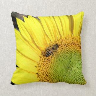 Bee On Sunflower Close Up Photograph Throw Pillow