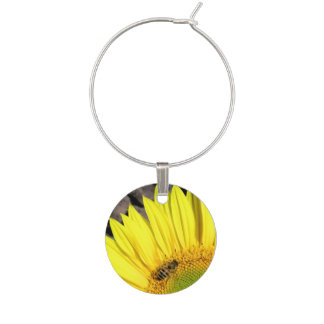 Bee On Sunflower Close Up Photograph Wine Charms