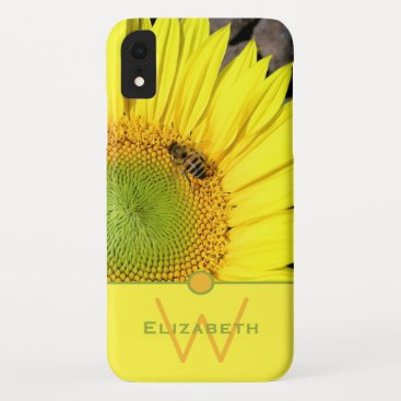 Bee On Sunflower Initial Letter Monogram iPhone XR Case