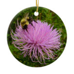 Bee on Thistle Flower Ceramic Ornament