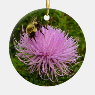 Bee on Thistle Flower Ceramic Ornament