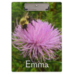 Bee on Thistle Flower Clipboard