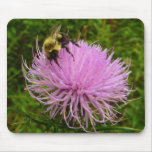 Bee on Thistle Flower Mouse Pad