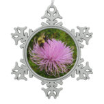 Bee on Thistle Flower Snowflake Pewter Christmas Ornament