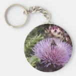 Bee on thistle key chain