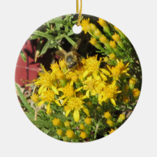 Bee on Yellow Flowers Christmas Tree Ornament