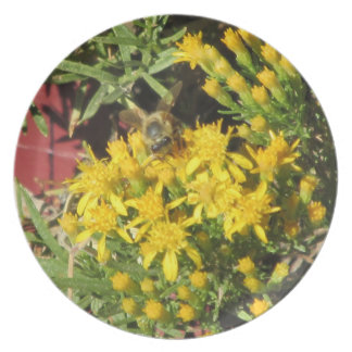 Bee on Yellow Flowers Plate