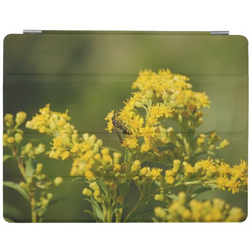 Bee on yellow goldenrod wildflower iPad smart cover