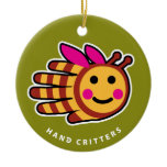 Hand shaped Bee ornament