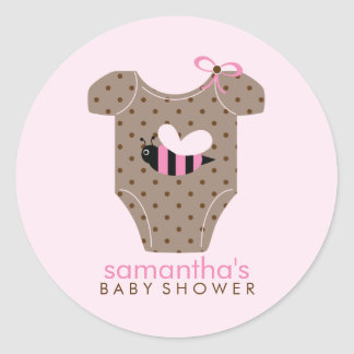 Bee Outfit Girl Baby Shower Classic Round Sticker