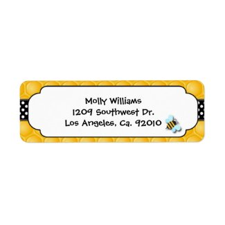 Bee Party Return Address Labels label