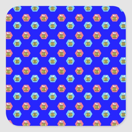 Bee pattern on blue square stickers