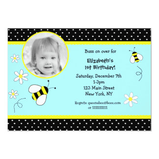 Bee Photo Birthday invitations