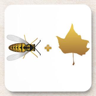 Bee plus a golden maple leaf = Bee + Leaf (Belief) Coasters