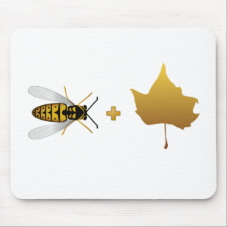 Bee plus a golden maple leaf = Bee + Leaf (Belief) Mouse Pad