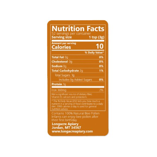 Bee Pollen Nutrition Facts Amber Label
