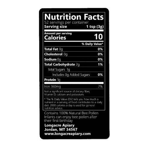 Bee Pollen Nutrition Facts Black Product Label