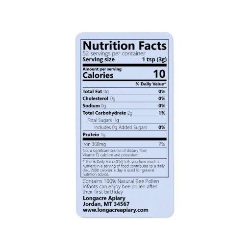 Bee Pollen Nutrition Facts Blue Product Label