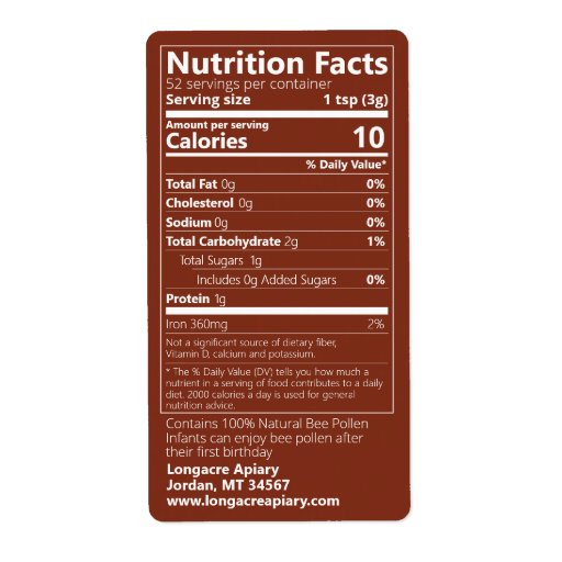 Bee Pollen Nutrition Facts Dark Amber Label