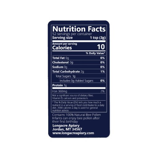 Bee Pollen Nutrition Facts Dark Blue Product Label