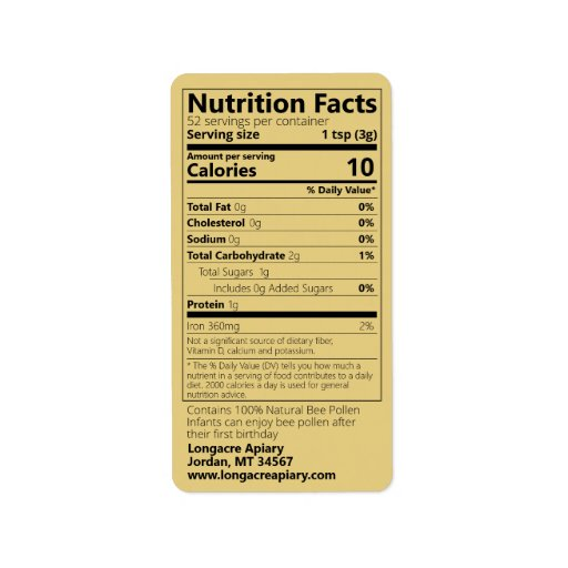 Bee Pollen Nutrition Facts Gold Label