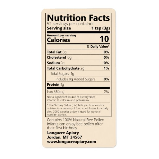 Bee Pollen Nutrition Facts Goldenrod Product Label
