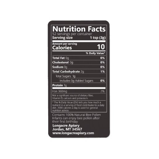 Bee Pollen Nutrition Facts Jet Black Product Label