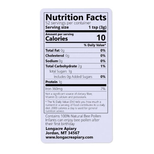 Bee Pollen Nutrition Facts Lavender Product Label