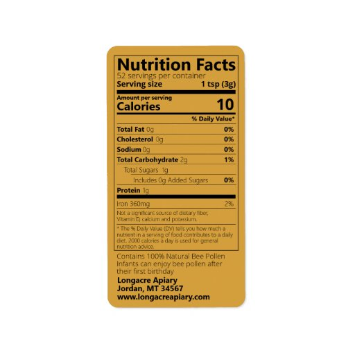 Bee Pollen Nutrition Facts Light Amber Label