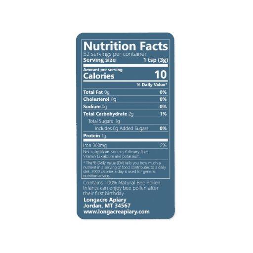 Bee Pollen Nutrition Facts Teal Product Label